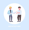 two architects with rolled up blueprints vector image vector image