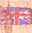 UK flag Big Ben vector image