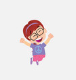 white girl with glasses jumping for joy vector image