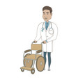 young hispanic doctor pushing wheelchair vector image vector image