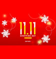 1111 winter sale background design with paper cut vector image