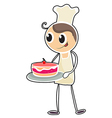 A baker holding a tray of cake vector image