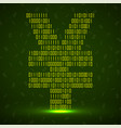 abstract sign yuan binary code with neon light vector image vector image