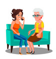 adult woman talking to her mature mother on the vector image vector image