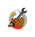 American Bald Eagle Mechanic Wrench Circle Cartoon vector image vector image