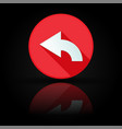 arrow icon red sign with reflection on black vector image