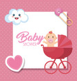 baby shower card with little girl vector image vector image
