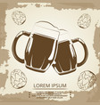 beer mugs and hops vintage poster for beer shop vector image vector image