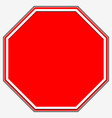 blank stop sign blank red octagonal prohibition vector image vector image