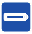 blue white information sign - battery full icon vector image vector image