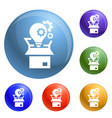 bulb gear box icons set vector image vector image