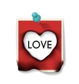 Burnt Paper Card with Hole Heart Shaped vector image