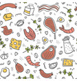 carnivore diet seamless pattern food pattern with vector image