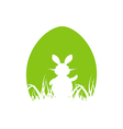 Cartoon Easter poster with rabbit and grass vector image vector image