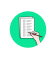 cartoon hand with checklist task or quiz vector image