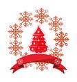 christmas red tree snowflake ribbon vector image vector image