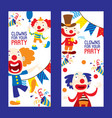 clowns for your party set banners vector image vector image