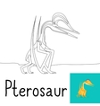 Coloring page for kids with Pterosaur vector image vector image