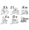 colorless alphabet letters for kids coloring book vector image vector image