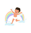 cute happy baby cupid character jumping on clouds vector image vector image