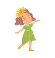 cute happy smiling girl in green dress and yellow vector image vector image