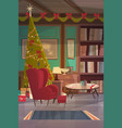 empty armchair near decorated pine tree home vector image