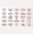 hand drawn crown set sketch queen or king beauty vector image vector image