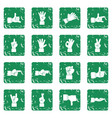 hand gesture icons set grunge vector image vector image