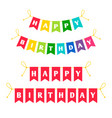 happy birthday letters bounting flags vector image vector image
