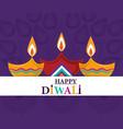 happy diwali festival lights diya lamps purple vector image vector image
