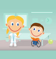 happy physiotherapist and child in wheelchair vector image