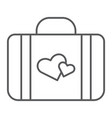 honeymoon thin line icon briefcase and love vector image vector image