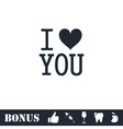 I love you icon flat vector image vector image