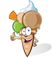 Ice cream with thumbs up vector image vector image