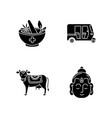 indian culture black glyph icons set on white