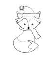line icon christmas fox cartoon vector image