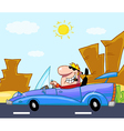 Man Driving His Convertible Car On A Desert Road vector image