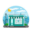 modern exterior pharmacy or drugstore vector image vector image