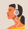 nice girl listening to music on headphones vector image vector image