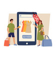 online sale man woman shopping female buy new vector image vector image