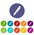 pencil eraser icons set flat vector image vector image