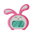 pink digital alarm clock rabbit shape modern vector image vector image