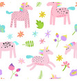 seamless pattern with magic unicorns vector image