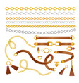 set chains and belts vector image vector image