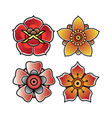 set flower tattoo old school vector image vector image