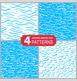 set of hand drawn seamless marine lines patterns vector image