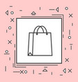 shopping bag icon thin line in pink frame vector image vector image