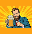 smiling man with a mug of beer foam vector image vector image