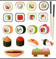 sushi set with soy sauce and chopsticks vector image vector image