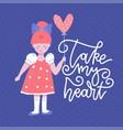 sweet little girl with a balloon in shape vector image vector image